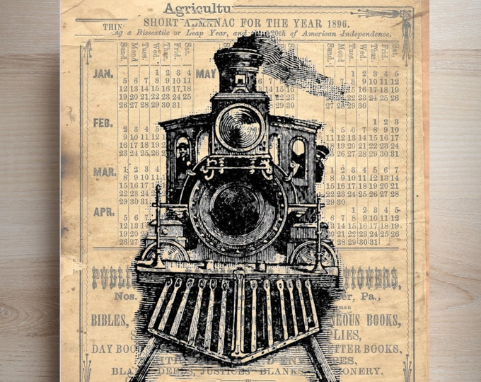 Train Locomotive art print custom choice background antique vintage page beautiful gift decor TLP2984