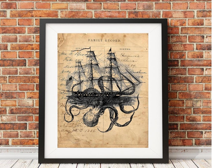 "18""X24"" Octopus Kraken attacking ship nautical EXTRA LARGE art print wall vintage decor octoship OASXL223"