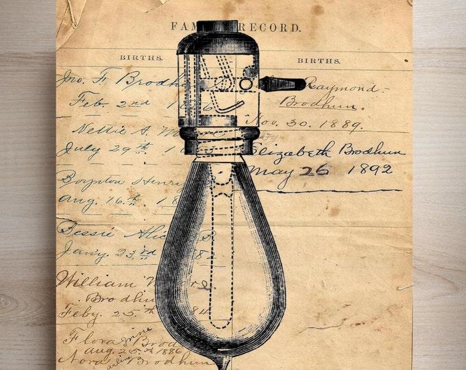 Edison Lightbulb vintage industrial rustic art print ELBV209