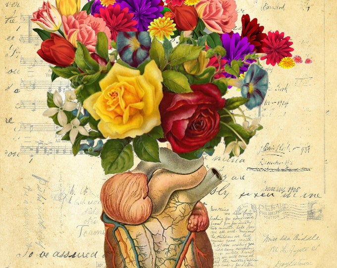 Flowers in the Heart vintage art print poster FH278