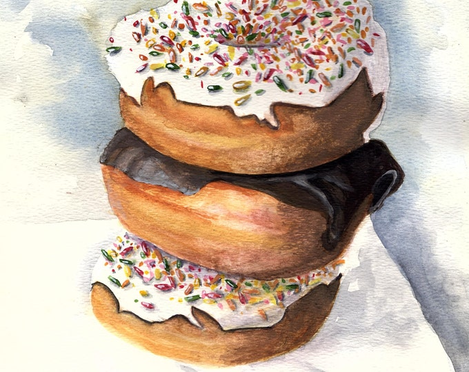 Donuts print from original watercolor painting kitchen dining decor cuisine food decor doughnut artwork by Debis ARTistry DON2016