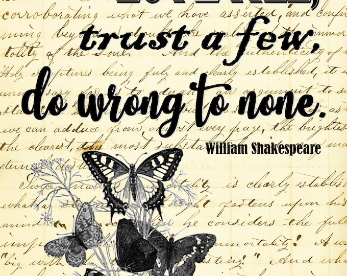 Shakespeare Love All quote print with choice of background replica antique paper wall decor art print SHA302
