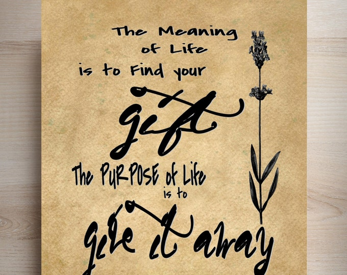 Picasso Meaning of Life with Flower inspirational Quote art print typography PIC0228