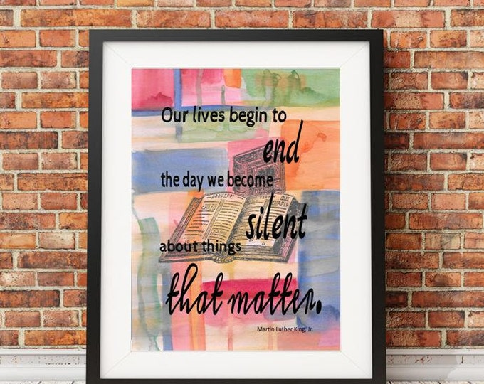 Martin Luther King Jr watercolor print quote from original watercolor painting MLK938