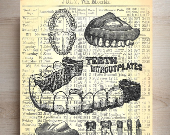 Dentistry teeth Vintage art print wall decor DT12345