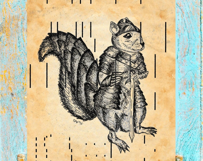 ANTIQUE Player Piano page Paper Warrior Squirrel 2 on upcycled player piano paper for wall decor SQU04385