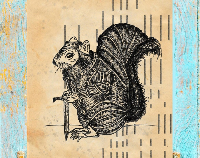 Player Piano Paper Warrior Squirrel 1 on upcycled antique player piano paper for wall decor WS6754