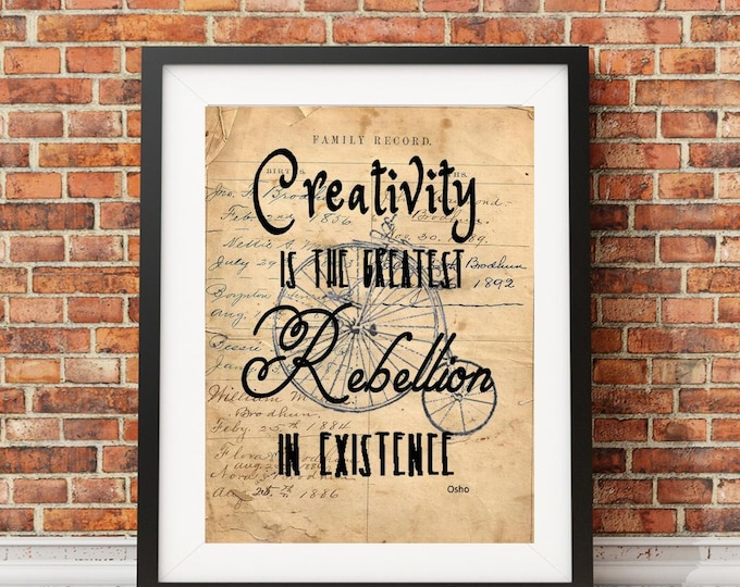 Osho creativity rebellion quote inspirational saying art print OSHO032