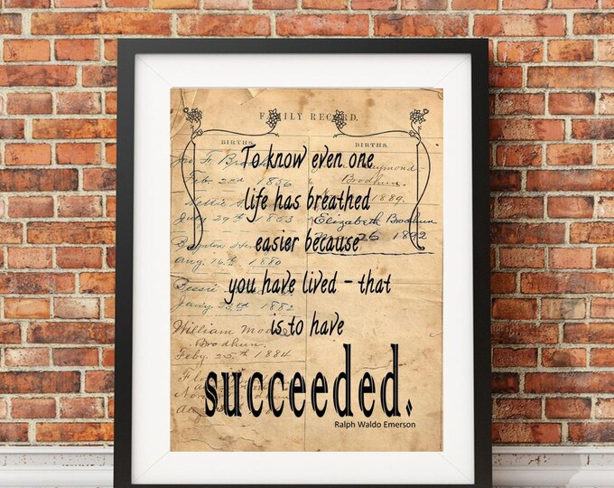 Ralph Waldo Emerson breathed quote image sign on reproduction of antique ledger paper vintage print wall hanging decoration gift RWE8374