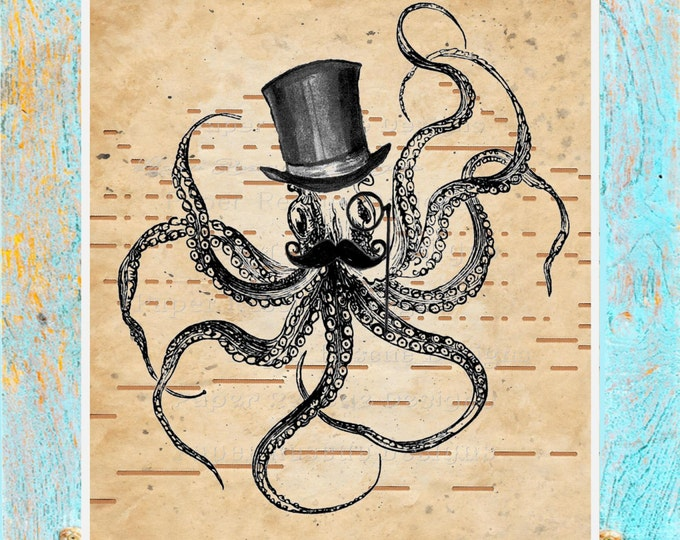 Player piano hand-painted paper beautifully upcycled to steampunk octopus art print home decor original handmade antique paper print OCT2001