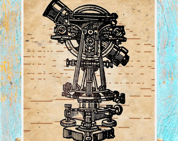 ANTIQUE Player piano paper beautifully upcycled telescope science geek art print decor original handmade antique paper print ATS3947