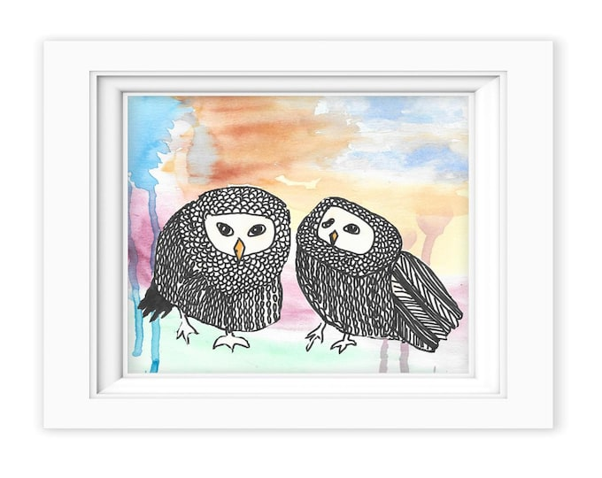 Whimsical Owl Print custom choice of print background, watercolor painting kids children art print wall decor WOP1323
