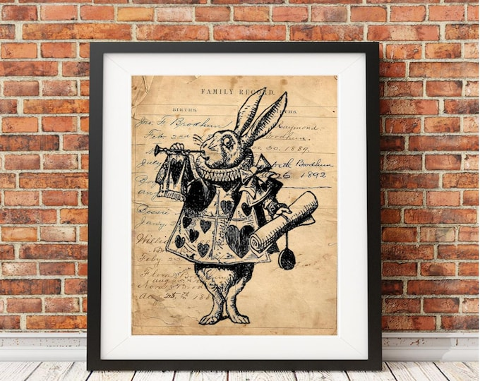 Alice in Wonderland character rabbit hearts literary art print AIW8382