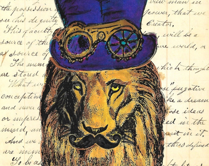 Steampunk Lion tophat mustache art print SLP1947