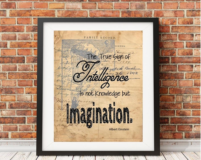 Imagination Einstein inspirational quote art print IEV1270