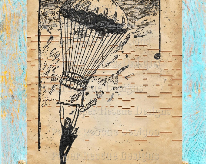 Player piano hand-painted paper beautifully upcycled parachute balloon trooper art print decor original handmade antique paper print PPB1342