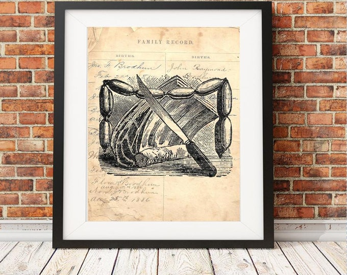Butcher shop tool knives meat unique vintage art print on reproduction antique ledger paper from the 1800's 8x10 print wall decor BST6743