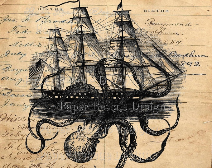 "24"" x 24"" Octopus Kraken attacking ship nautical print on ledger background octoship OS23028"