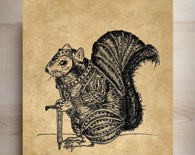 Warrior Squirrel 1 original design medieval knight armor art print WSK3937