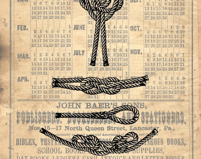 Nautical sailing boating knot study 2 beach boating lake house art print custom choice background from antique paper KS2100