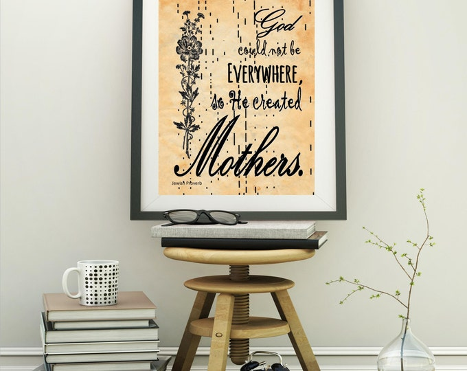 Player piano paper art print of Mother God quote for Mother's Day decor handmade antique paper print MGQ2835