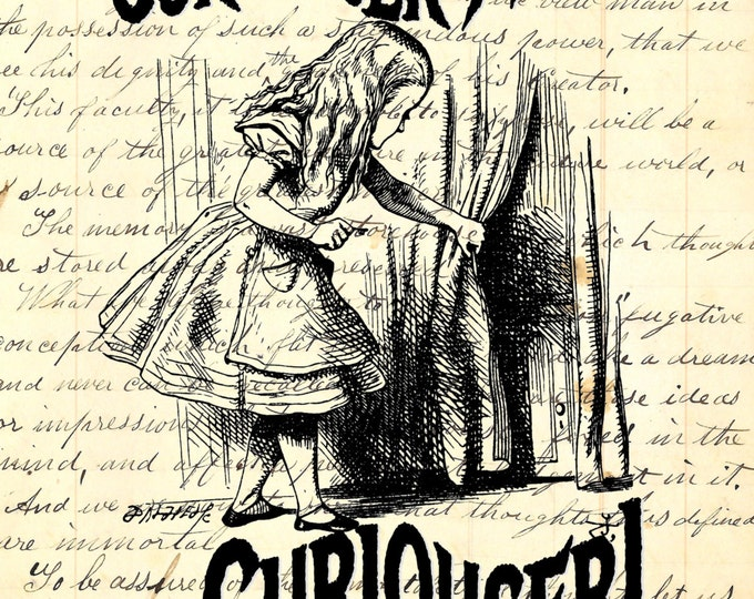Alice In Wonderland vintage paper background Paper print, or on journal, music, ledger or dictionary paper page wall decor AIW12