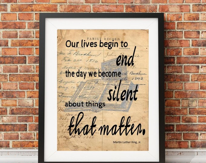 Martin Luther King Jr quote image on reproduction of antique ledger paper vintage print wall hanging decoration gift MLK3195
