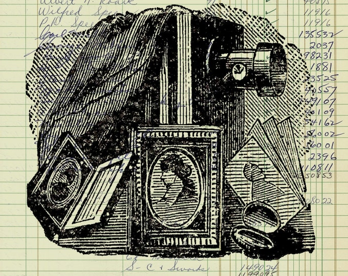 Real Vintage Ledger Paper Print camera tintype photo antique camera equipment decor art print rustic wall decor VP21775