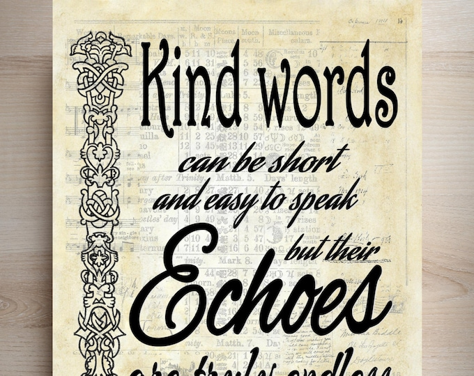 Kind words Mother Teresa inspirational quote art print KWMT2001