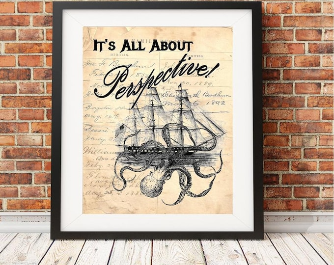 Octopus Kraken ORIGINAL ARTWORK art print quote saying sign on reproduction antique ledger paper wall decor DEBI203