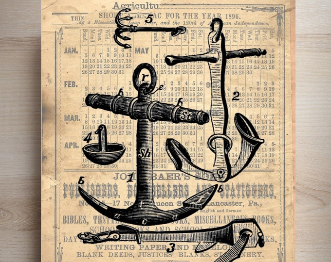 Anchors nautical vintage art print where you pick your favorite background ABN482