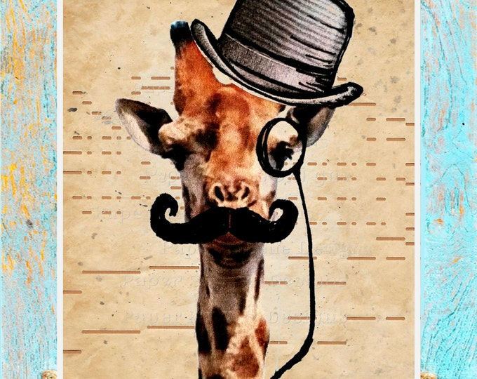 ANTIQUE Player piano paper giraffe top hat mustache art print GTPP2937