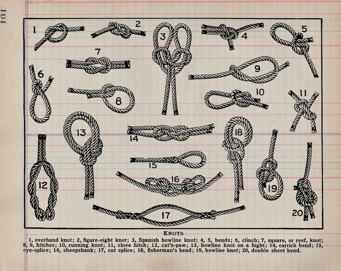 Boating Sailor Knot Study II Antique Ledger Paper nautical beach lake decor art print wall farmhouse rustic 1800s VP0945