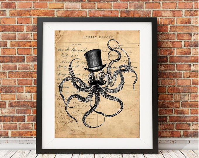 Octopus steampunk kraken tophat mustache ocean sea beach nautical decor print of antique ledger paper vintage print wall hanging gift OSK837