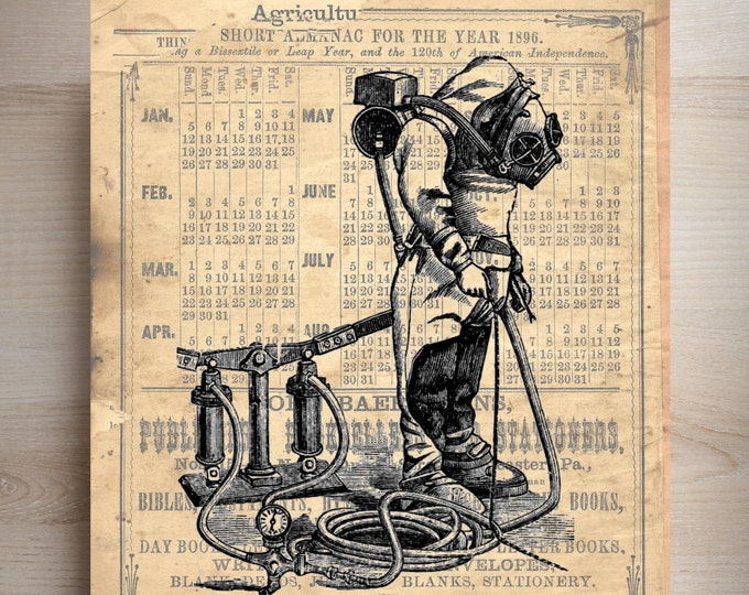 Vintage 1895 diving illustration art print VDI19287