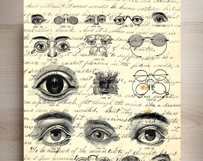 Vintage Optical eyes print |  Optician eye doctor print |  vintage art print | Choose your background wall print | EYE2001