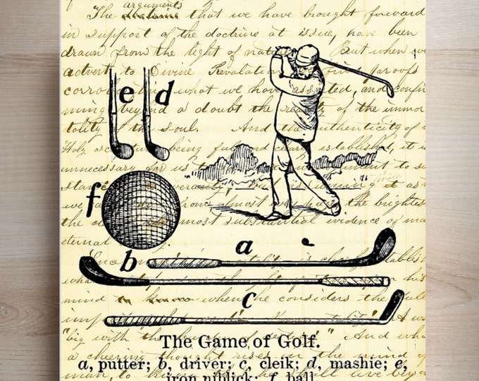vintage golfer game of golf sports industrial rustic art print VGG3487