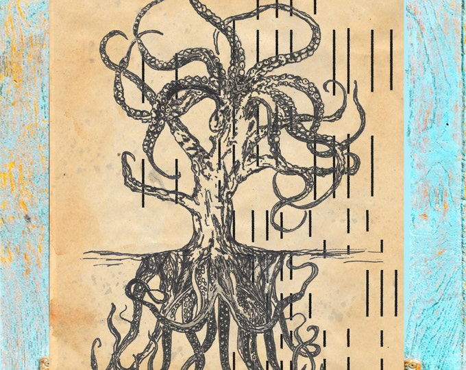 Player piano paper print of Octopus Tree authentic antique player piano paper, handpainted orginial Octotree art print OTPP1562
