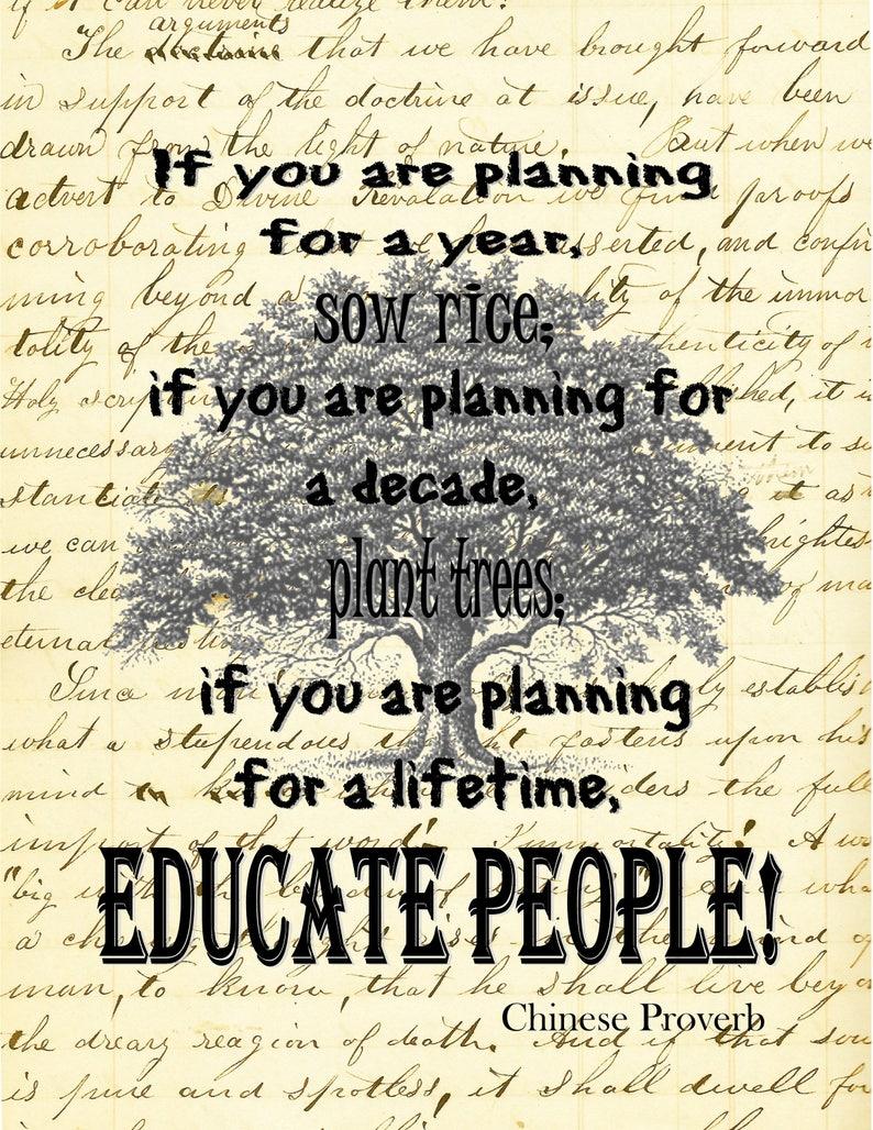 c875ca2202a76 Teacher gift education Chinese quote art print EDU3077