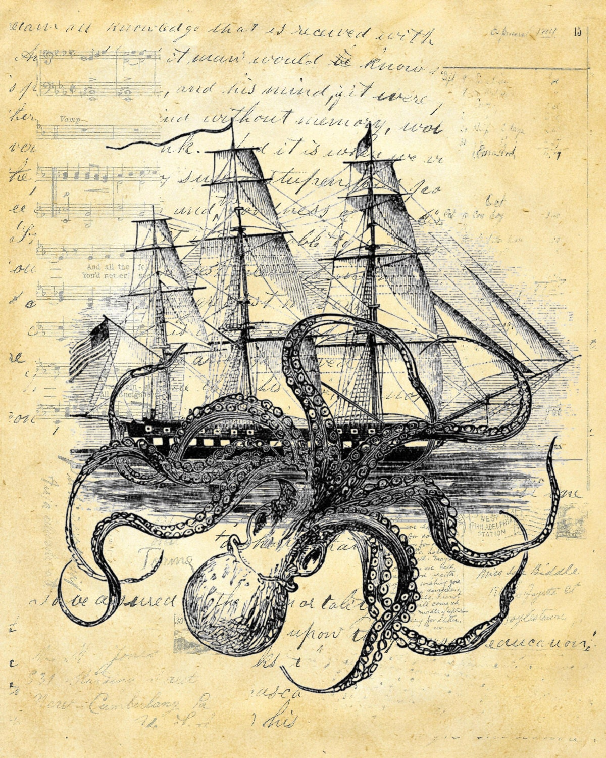 Octopus Shipwreck Drawing Octopus Kraken ...