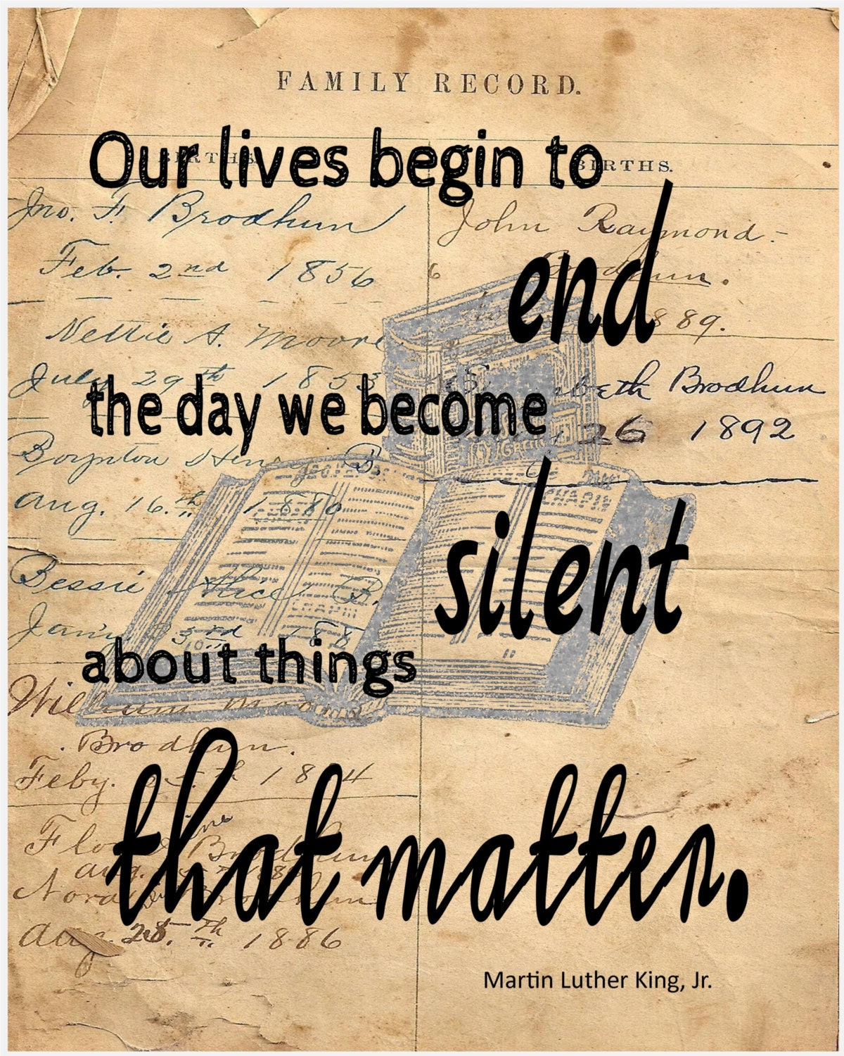 Martin Luther King Jr quote image on reproduction of antique ledger ...