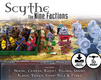 Scythe: The 9 Factions 36pc Faction Buildings | Nordic, Crimean, Rusviet, Polonia, Saxony - Invaders from Afar - Rise of Fenris Expansion