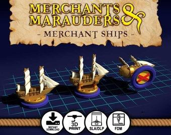 Merchants & Marauders DIGITAL DOWNLOAD Upgraded Merchant Ship Board Game Tokens