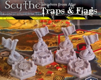 Scythe Invaders from Afar: Traps & Flags | Board Game Meeples, Nordic, Crimean, Rusviet, Polania, Saxony, Upgraded Stonemaier Gaming Tokens