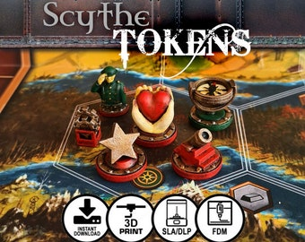 Scythe the Board Game Faction Tokens STL DOWNLOAD | Power, Encounter, Popularity, Star, Enlist, Nordic, Crimean, Rusviet, Polonia, Saxony
