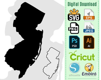 New Jersey State Silhouette & Outline Digital Download | JPEG SVG PNG .eps .ai Vector Cricut Decal Vinyl Stencil Cutting