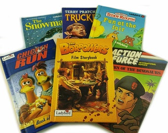 Ladybird Book Children's Film and TV 6 Book Gift Set, Chicken Run, Action Force, Truckers, The Snowman, Teddy Ruxpin, The Borrowers