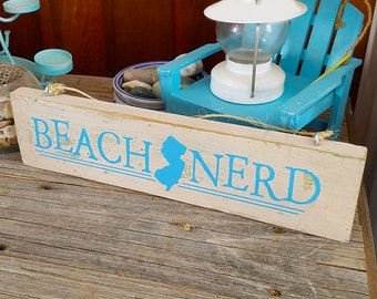 Beach Nerd New Jersey Decorative Sign