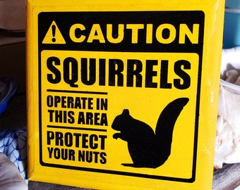 Protect Your Nuts: Squirrels Operate in this Area Caution Sign