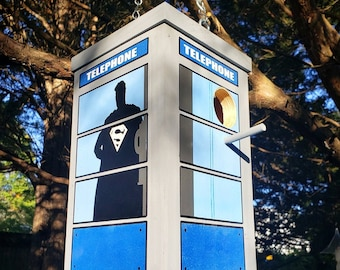 Superman / Clark Kent Two-Story Telephone Booth Birdhouse